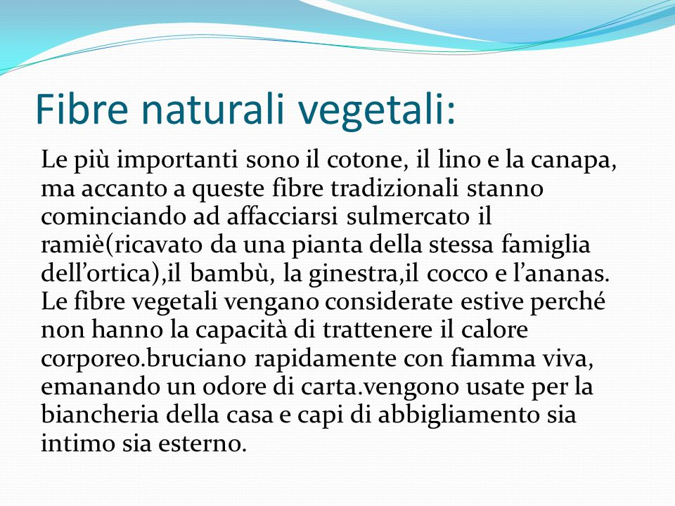 Fibre naturali vegetali: