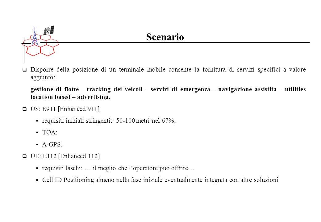 Scenario Disporre della posizione di un terminale mobile consente la fornitura di servizi specifici a valore aggiunto: