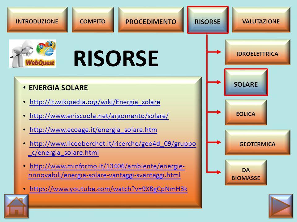 RISORSE ENERGIA SOLARE PROCEDIMENTO RISORSE SOLARE