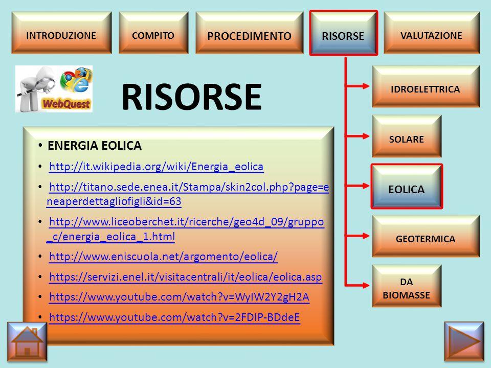 RISORSE ENERGIA EOLICA PROCEDIMENTO RISORSE