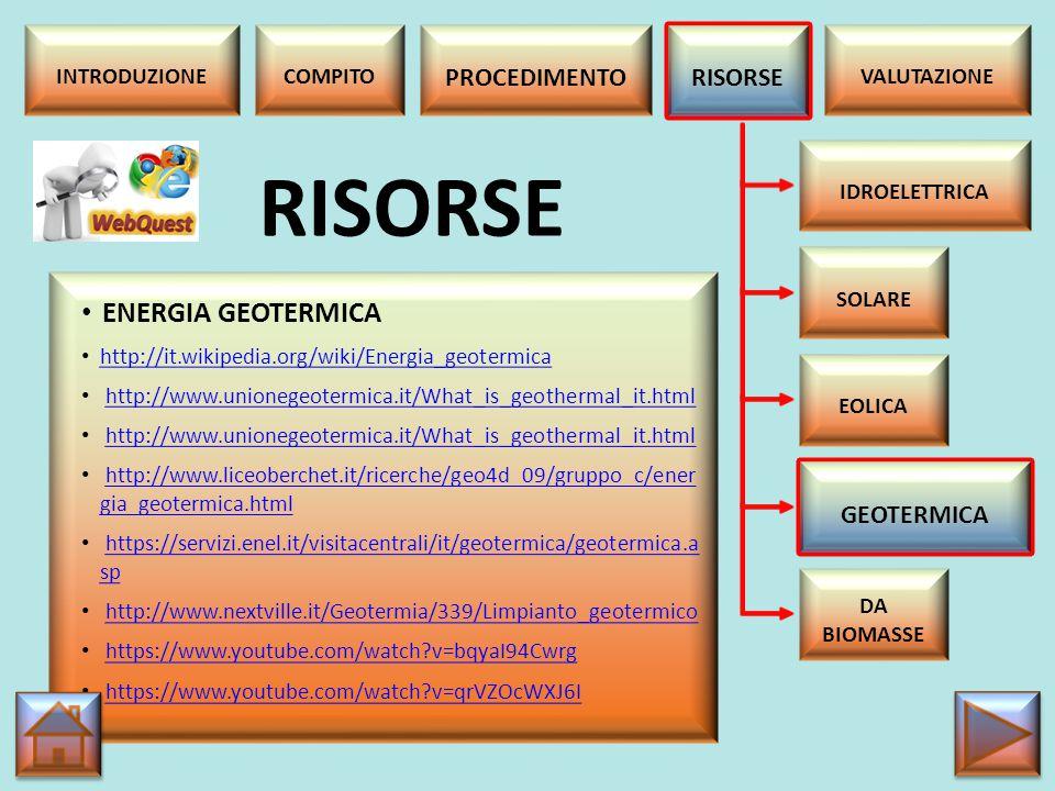RISORSE ENERGIA GEOTERMICA PROCEDIMENTO RISORSE GEOTERMICA