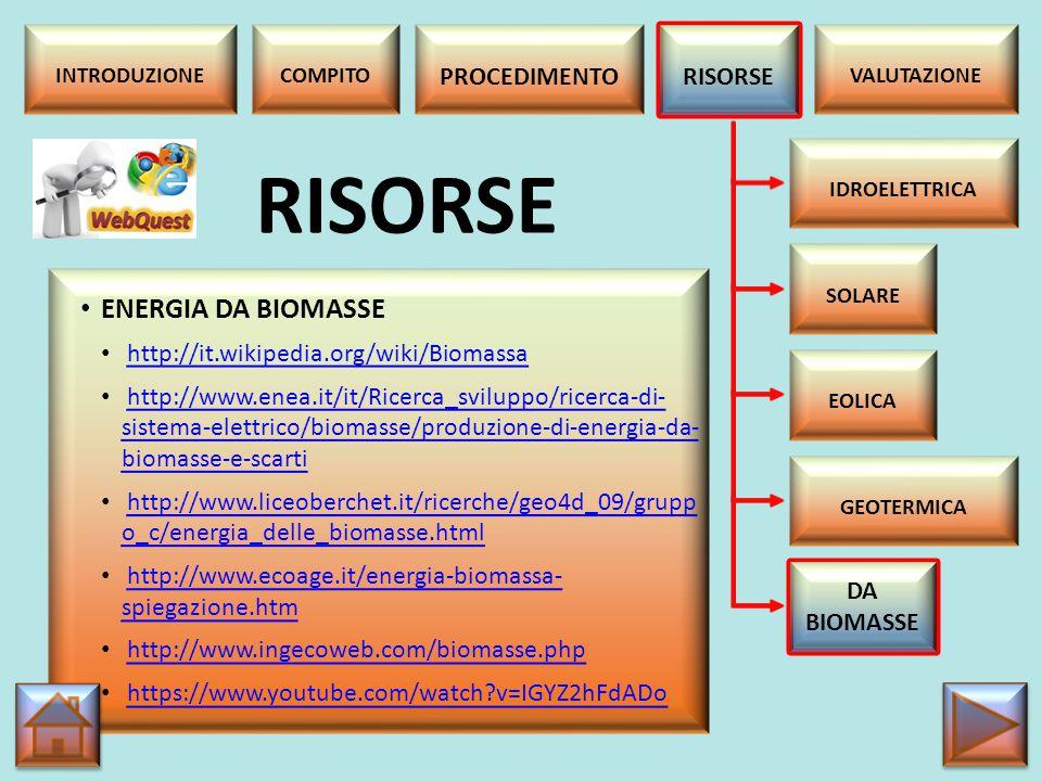 RISORSE ENERGIA DA BIOMASSE PROCEDIMENTO RISORSE