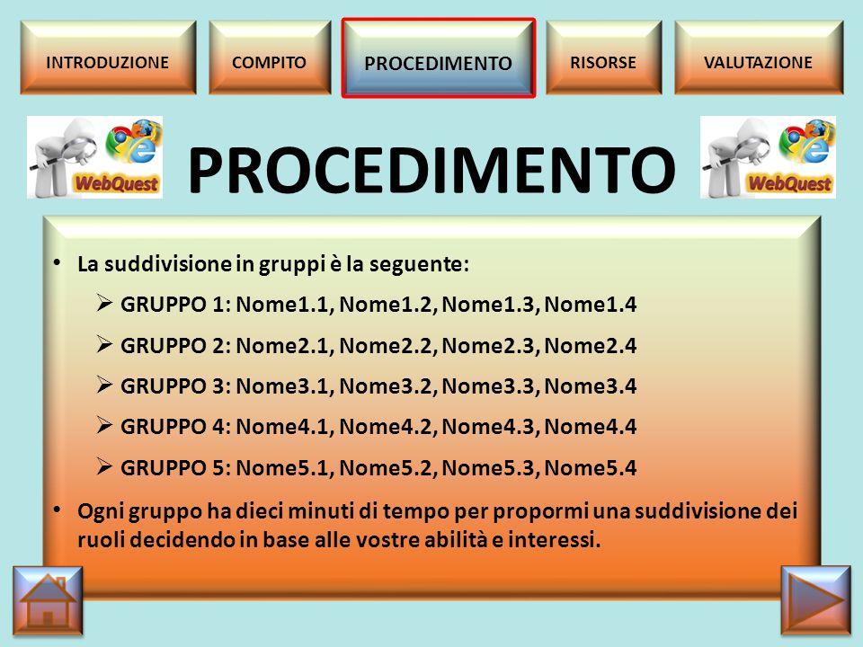 PROCEDIMENTO La suddivisione in gruppi è la seguente: