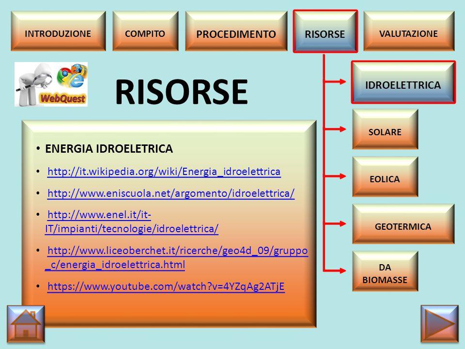 RISORSE ENERGIA IDROELETRICA PROCEDIMENTO RISORSE IDROELETTRICA