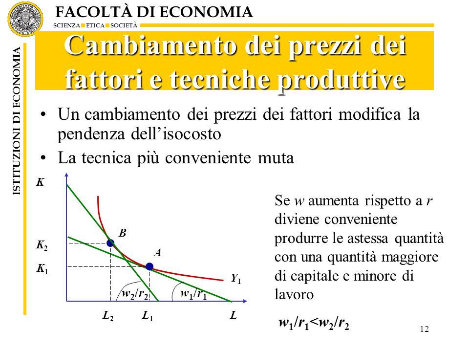 Cambiamento dei prezzi dei fattori e tecniche produttive
