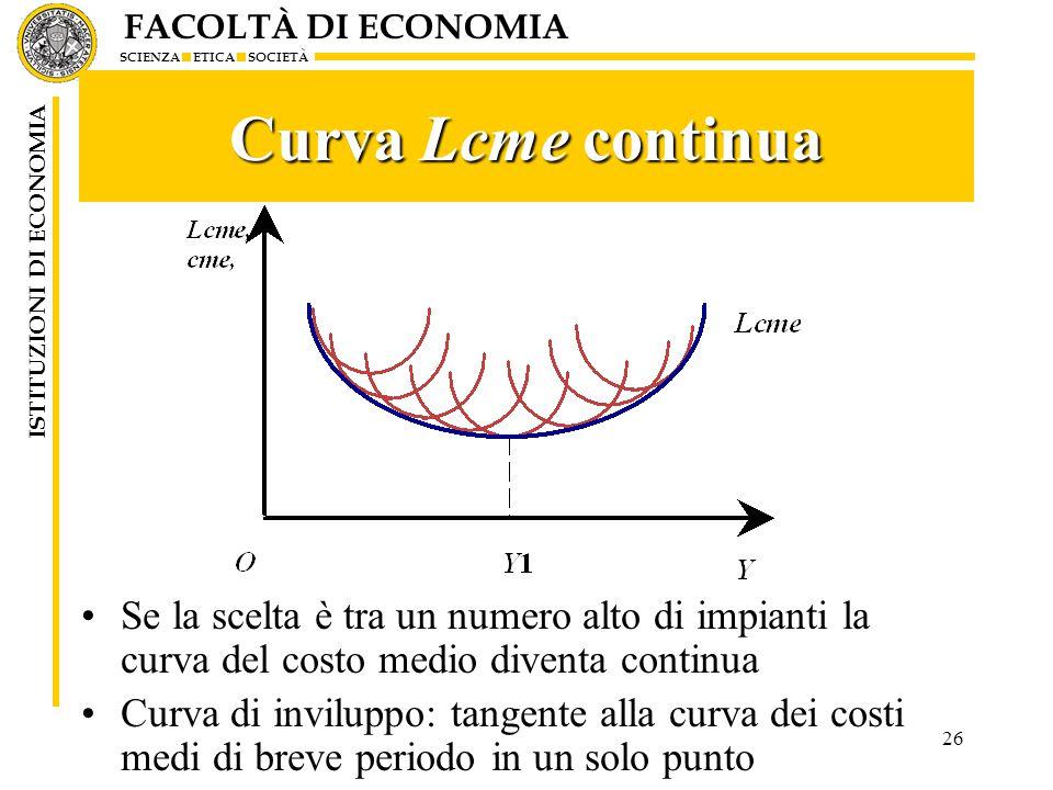 Curva Lcme continua Se la scelta è tra un numero alto di impianti la curva del costo medio diventa continua.