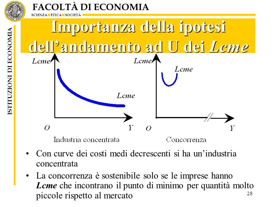 Importanza della ipotesi dell'andamento ad U dei Lcme