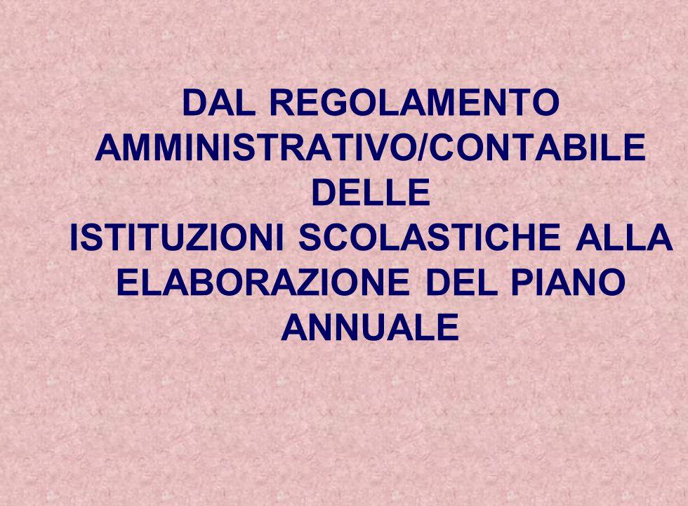 DAL REGOLAMENTO AMMINISTRATIVO/CONTABILE DELLE ISTITUZIONI SCOLASTICHE ALLA ELABORAZIONE DEL PIANO ANNUALE