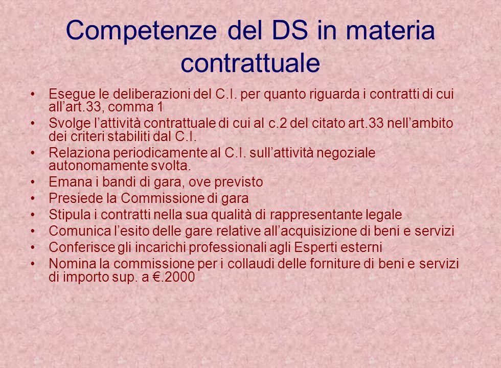 Competenze del DS in materia contrattuale