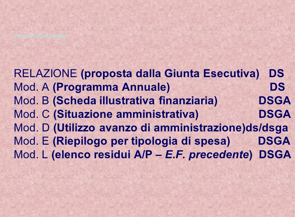 Programma Annuale RELAZIONE (proposta dalla Giunta Esecutiva) DS Mod