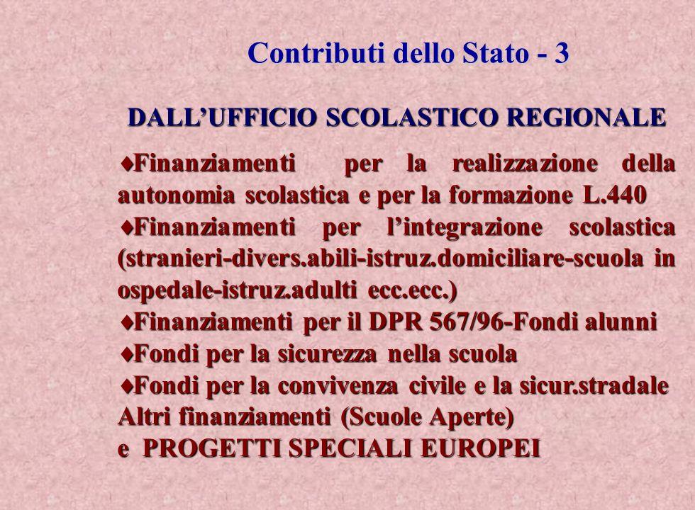 Contributi dello Stato - 3 DALL'UFFICIO SCOLASTICO REGIONALE