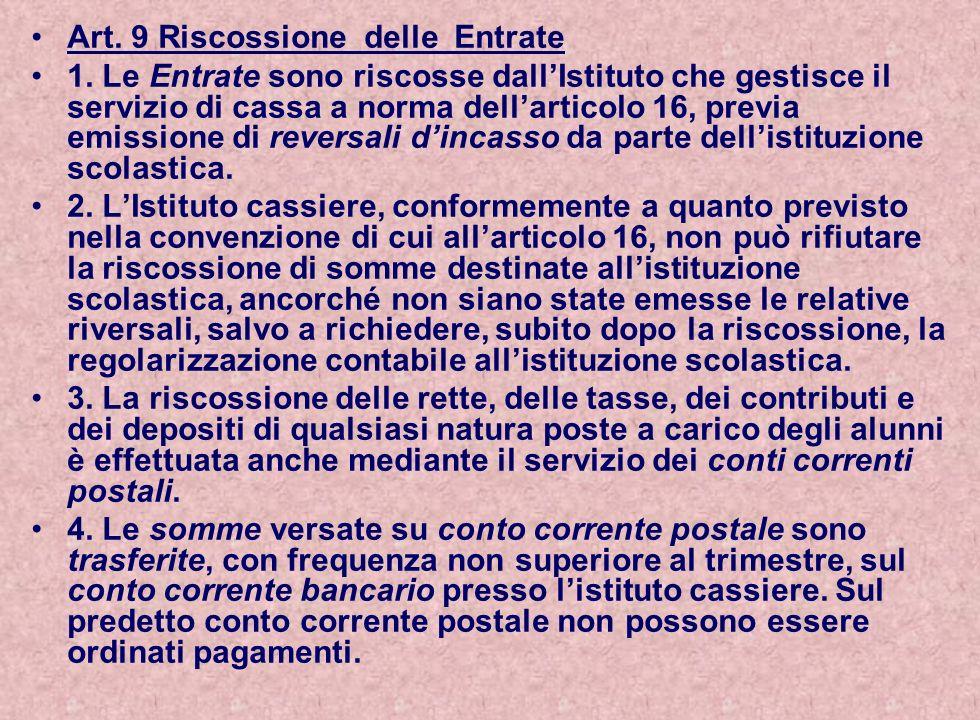 Art. 9 Riscossione delle Entrate
