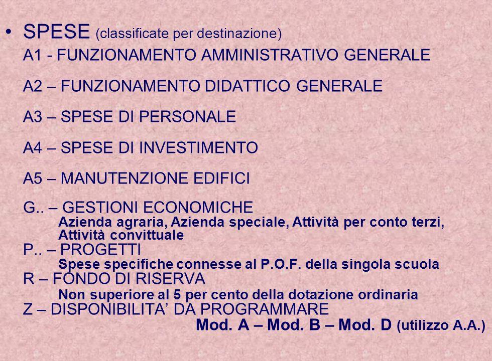 SPESE (classificate per destinazione) A1 - FUNZIONAMENTO AMMINISTRATIVO GENERALE A2 – FUNZIONAMENTO DIDATTICO GENERALE A3 – SPESE DI PERSONALE A4 – SPESE DI INVESTIMENTO A5 – MANUTENZIONE EDIFICI G..