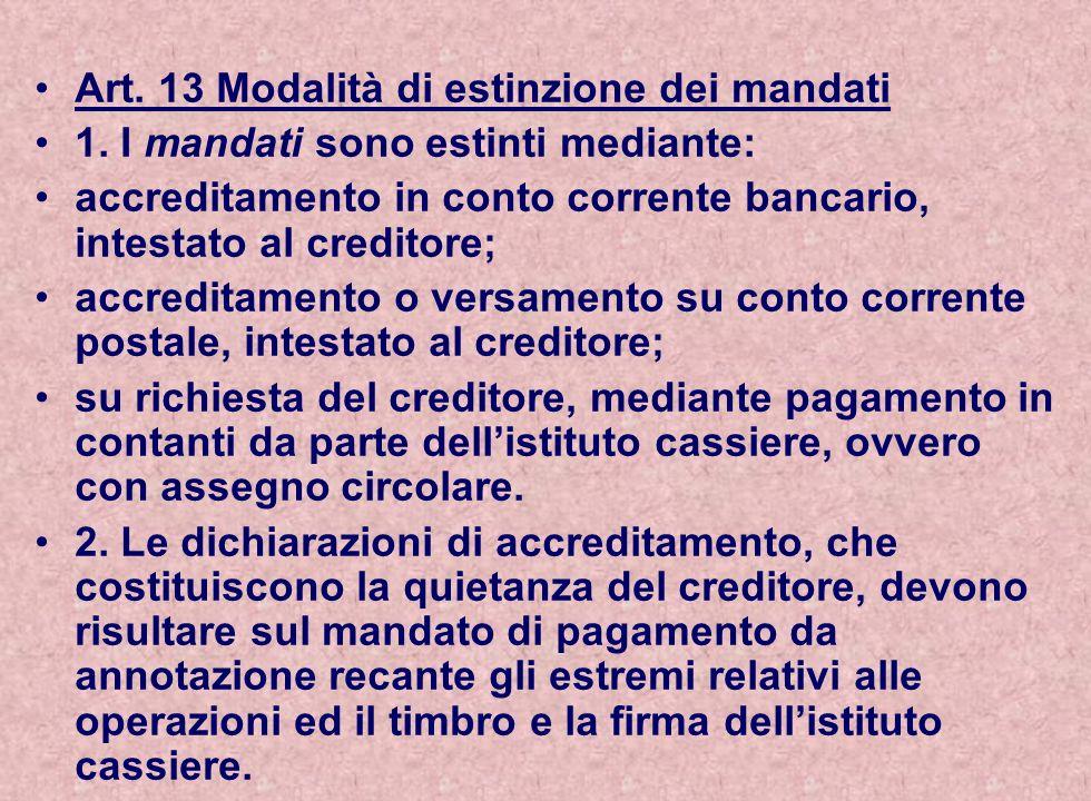 Art. 13 Modalità di estinzione dei mandati