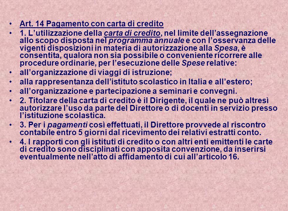 Art. 14 Pagamento con carta di credito
