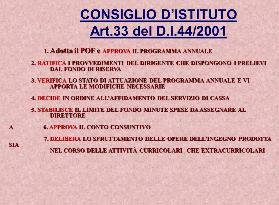 CONSIGLIO D'ISTITUTO Art.33 del D.I.44/2001