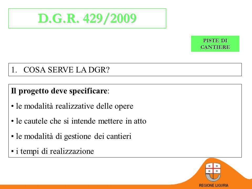 D.G.R. 429/2009 COSA SERVE LA DGR Il progetto deve specificare: