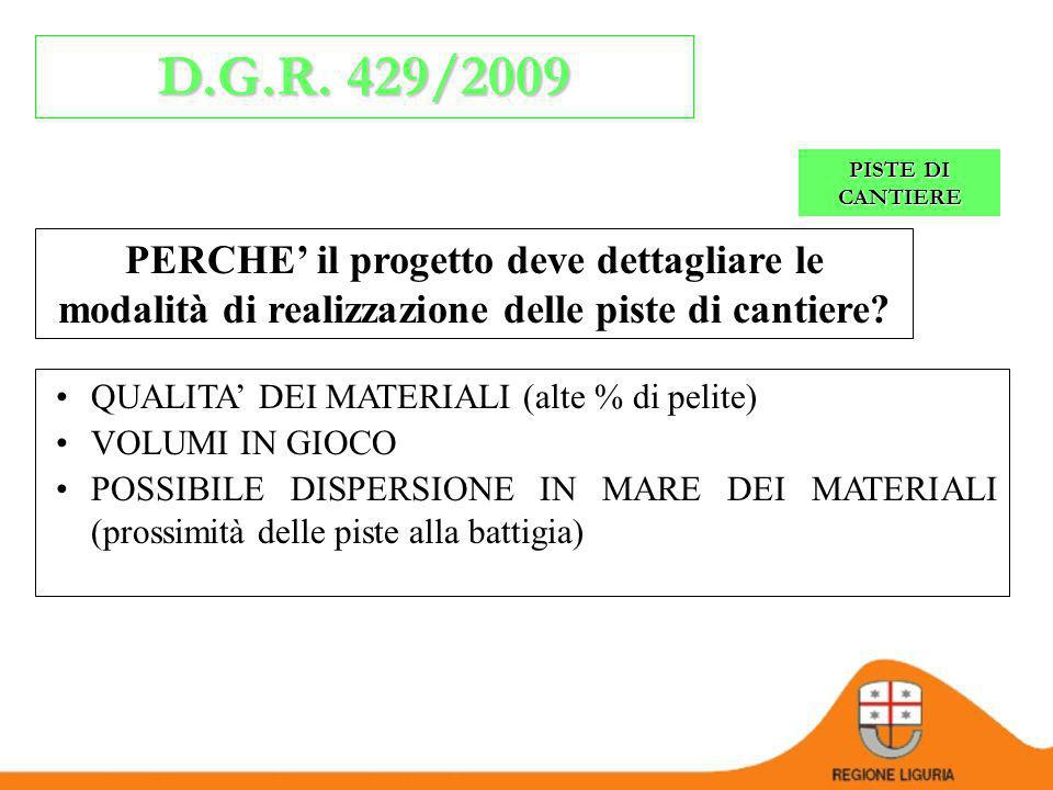 D.G.R. 429/2009 PISTE DI CANTIERE. PERCHE' il progetto deve dettagliare le modalità di realizzazione delle piste di cantiere
