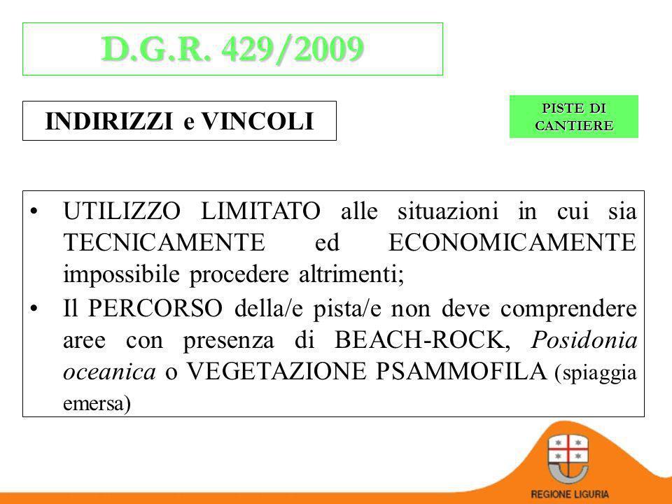 D.G.R. 429/2009 INDIRIZZI e VINCOLI