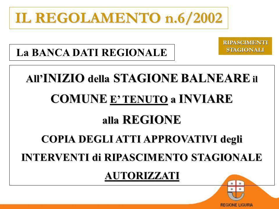 IL REGOLAMENTO n.6/2002 La BANCA DATI REGIONALE