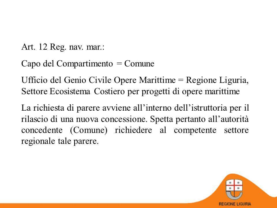 Art. 12 Reg. nav. mar.: Capo del Compartimento = Comune.