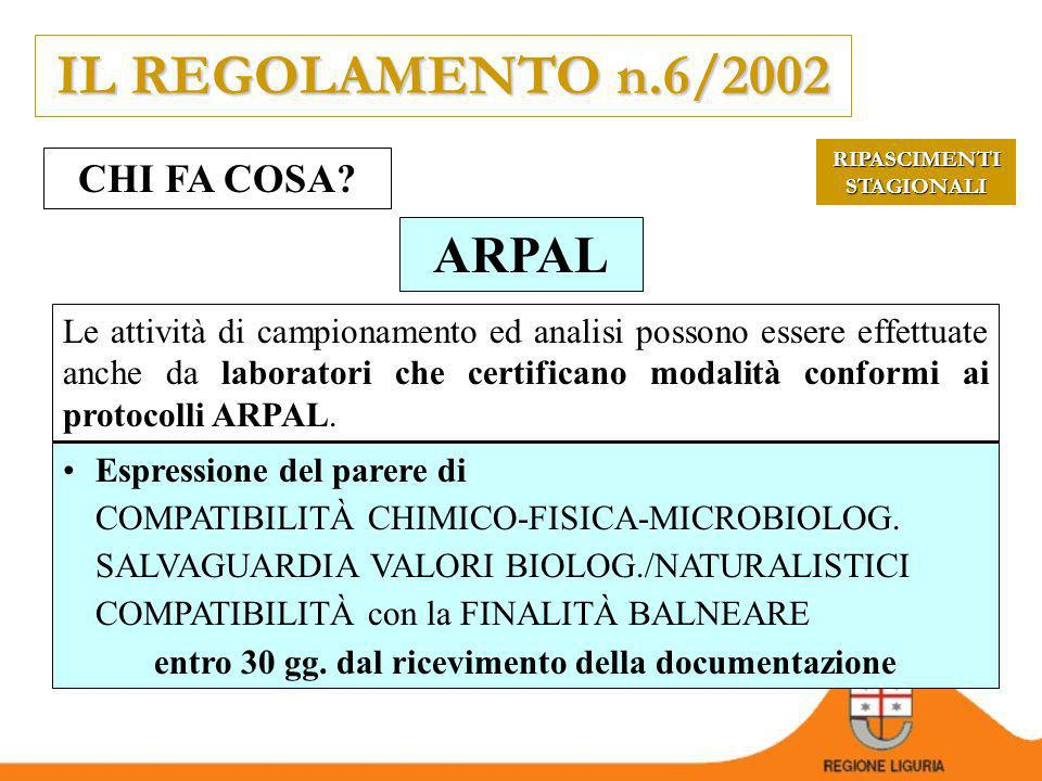 IL REGOLAMENTO n.6/2002 ARPAL CHI FA COSA