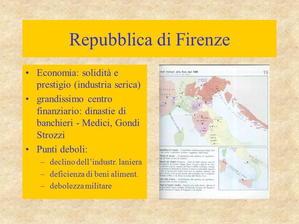 Repubblica di Firenze Economia: solidità e prestigio (industria serica)
