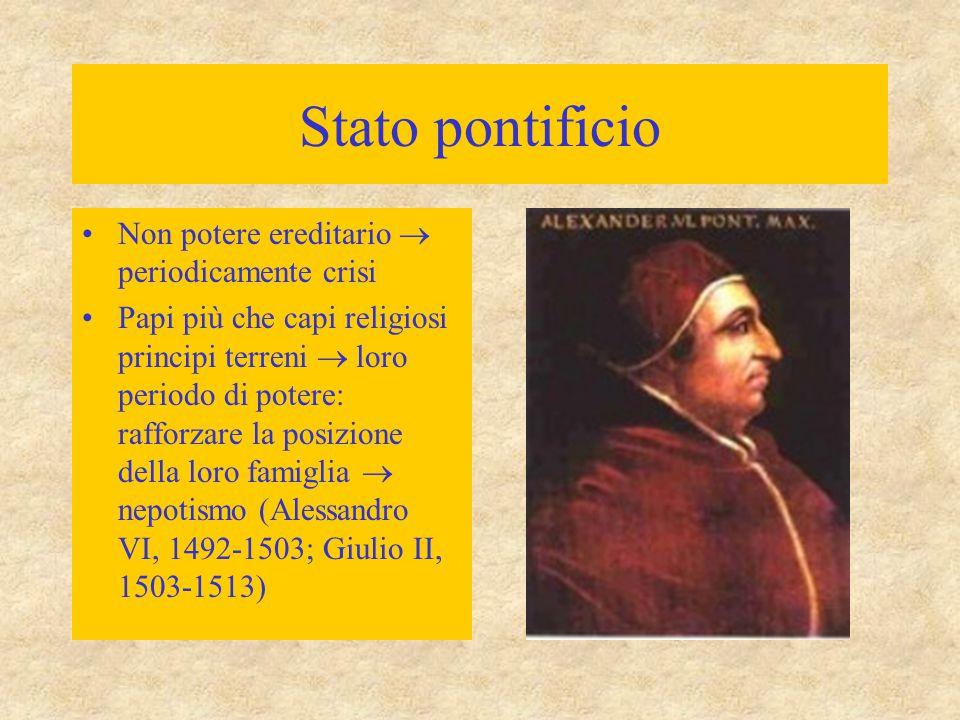 Stato pontificio Non potere ereditario  periodicamente crisi