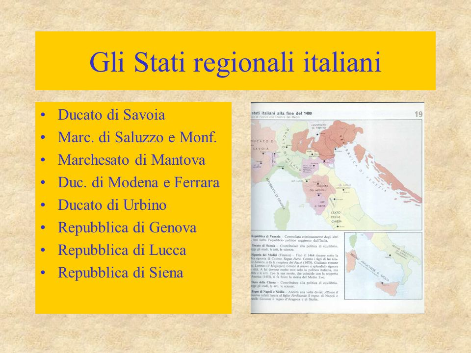 Gli Stati regionali italiani