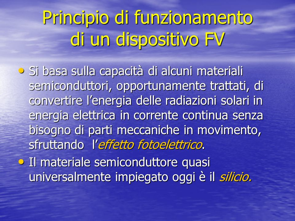 Principio di funzionamento di un dispositivo FV