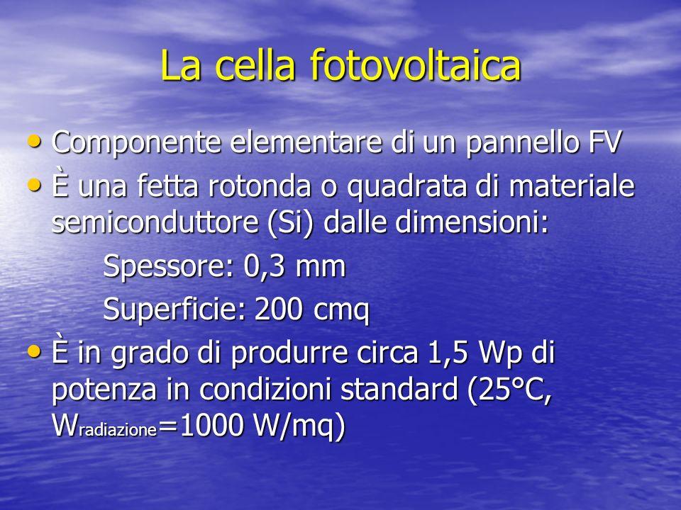 La cella fotovoltaica Componente elementare di un pannello FV