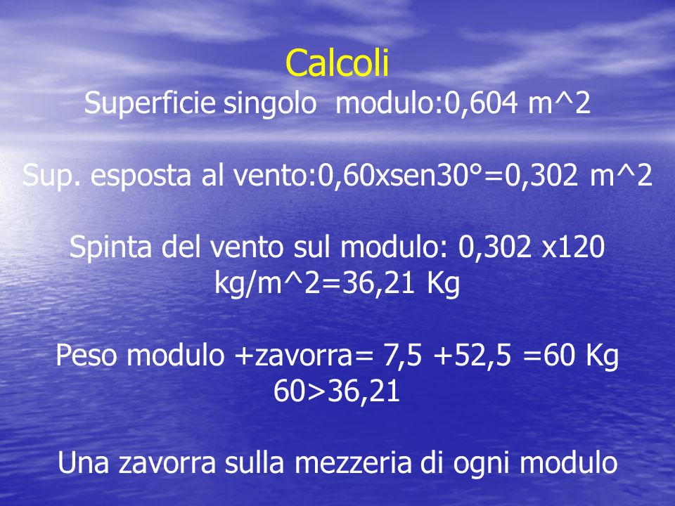 Calcoli Superficie singolo modulo:0,604 m^2