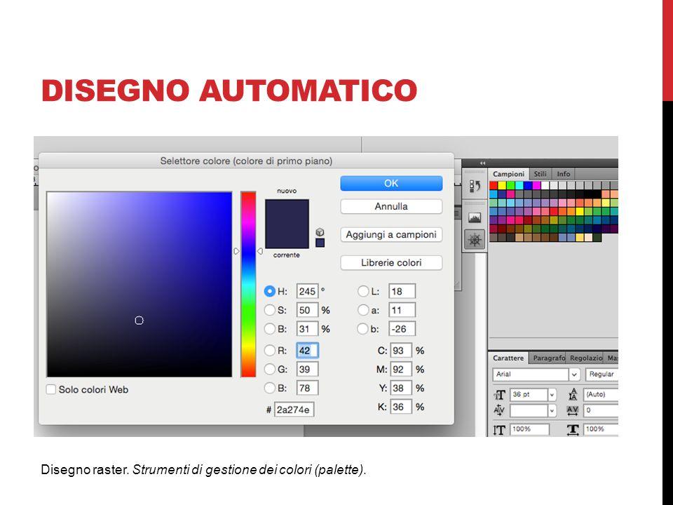DISEGNO AUTOMATICO Disegno raster. Strumenti di gestione dei colori (palette).