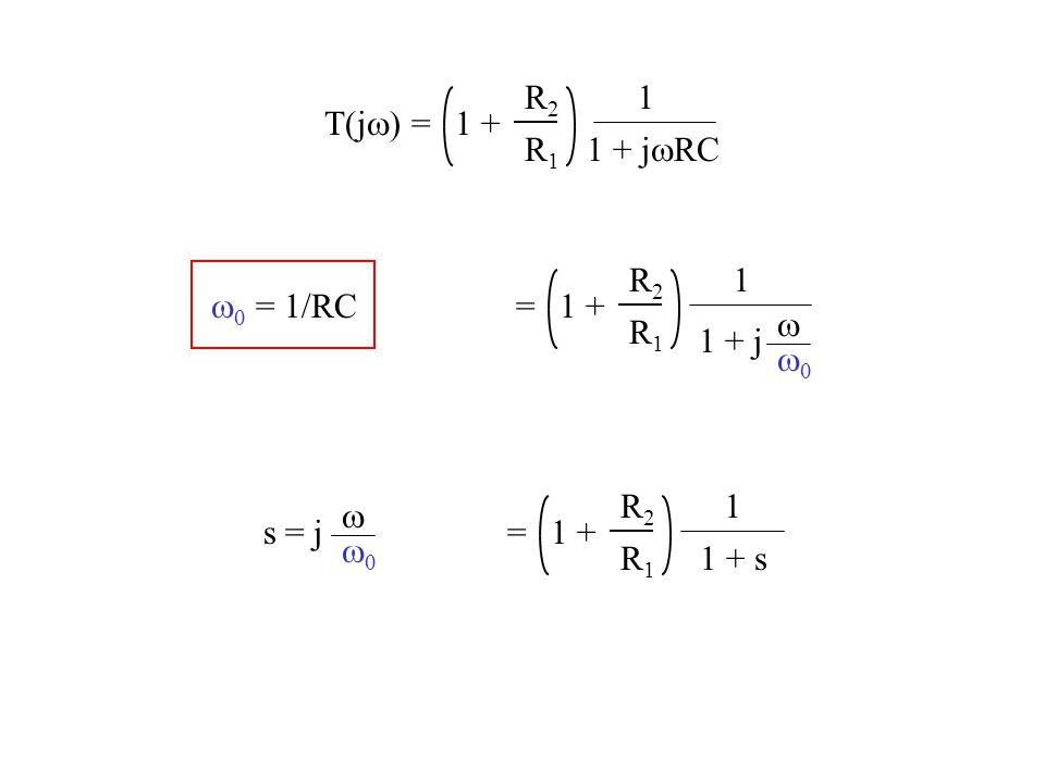 R2 R1 1 + 1 1 + jwRC T(jw) = R2 R1 1 + 1 w0 = 1/RC = w w0 1 + j R2 R1 1 + 1 w w0 s = j = 1 + s