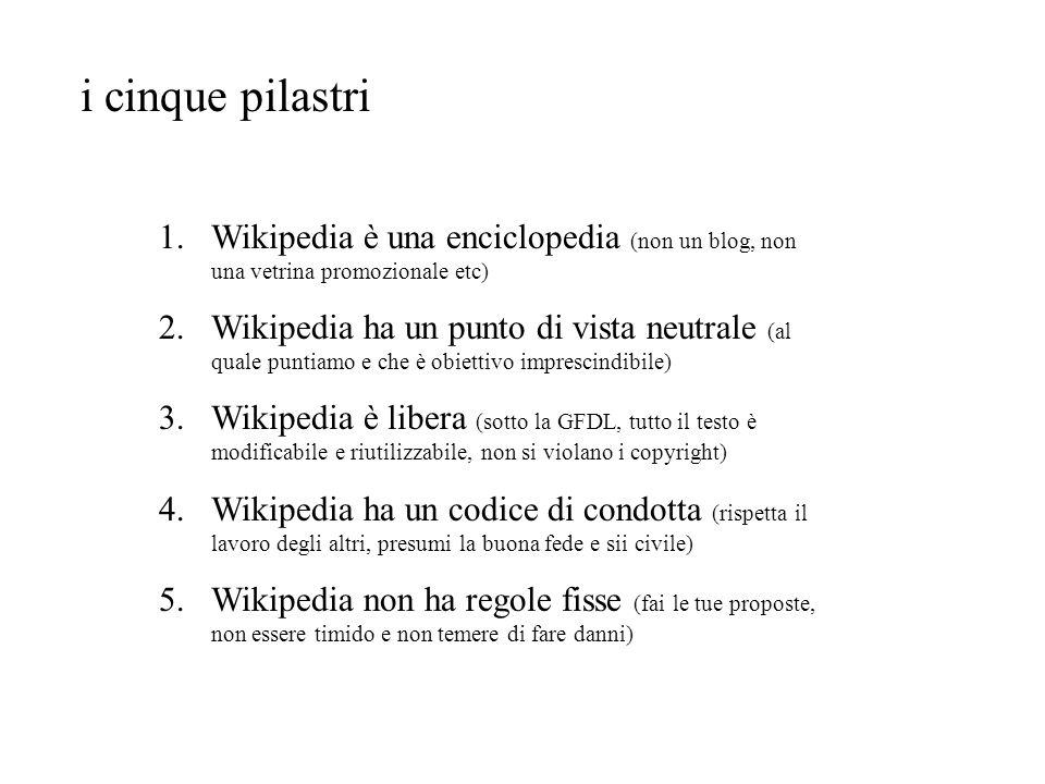 i cinque pilastri Wikipedia è una enciclopedia (non un blog, non una vetrina promozionale etc)