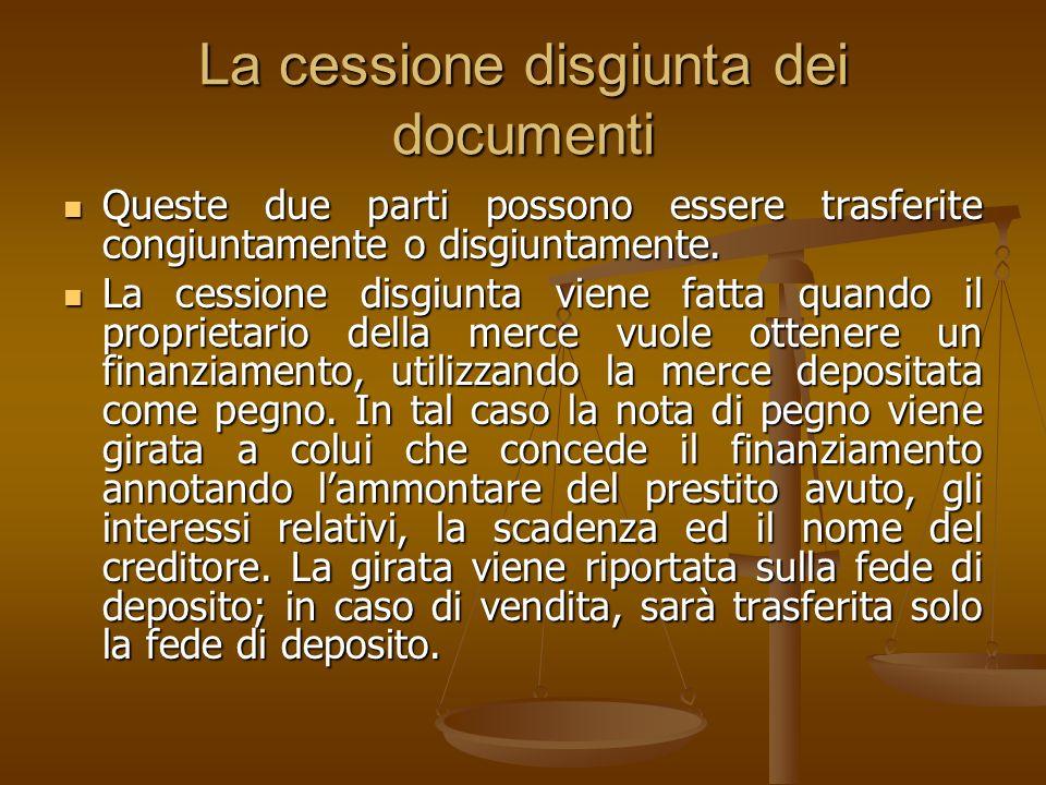 La cessione disgiunta dei documenti