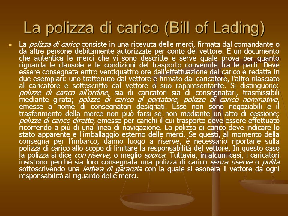La polizza di carico (Bill of Lading)