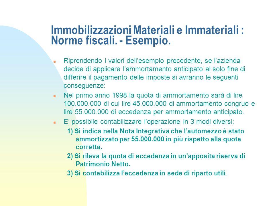 Immobilizzazioni Materiali e Immateriali : Norme fiscali. - Esempio.
