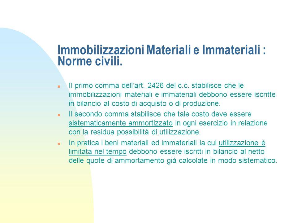Immobilizzazioni Materiali e Immateriali : Norme civili.