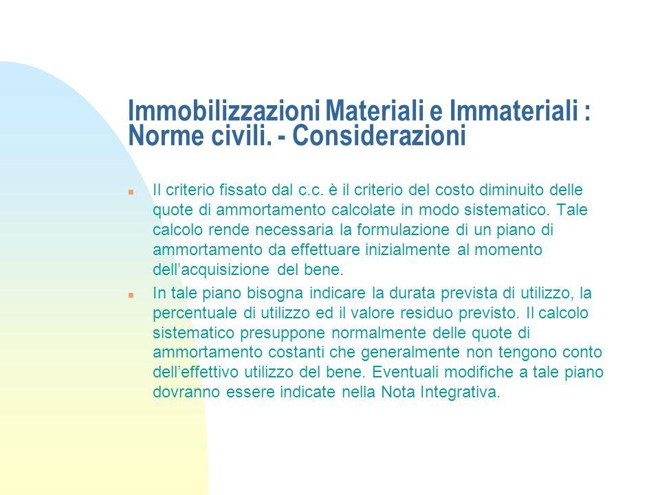 Immobilizzazioni Materiali e Immateriali : Norme civili