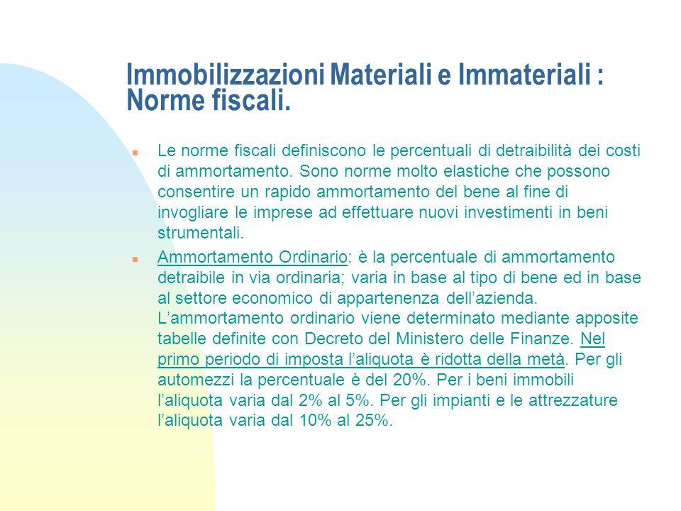 Immobilizzazioni Materiali e Immateriali : Norme fiscali.
