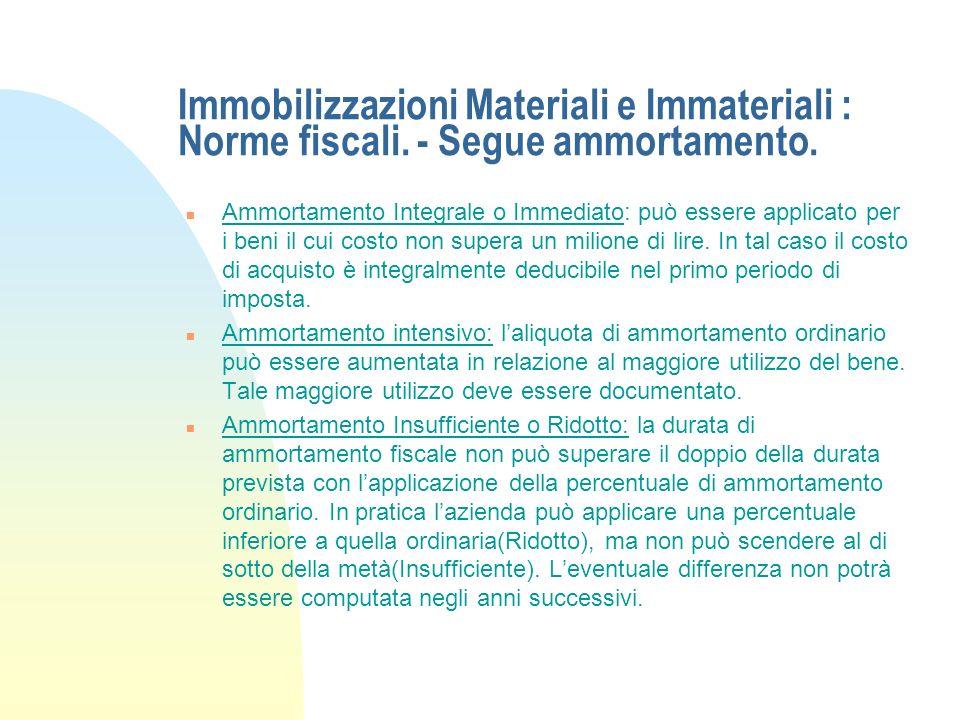 Immobilizzazioni Materiali e Immateriali : Norme fiscali