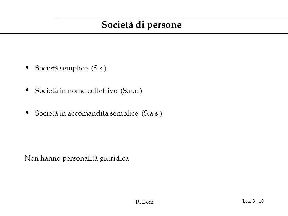 Società di persone Società semplice (S.s.)