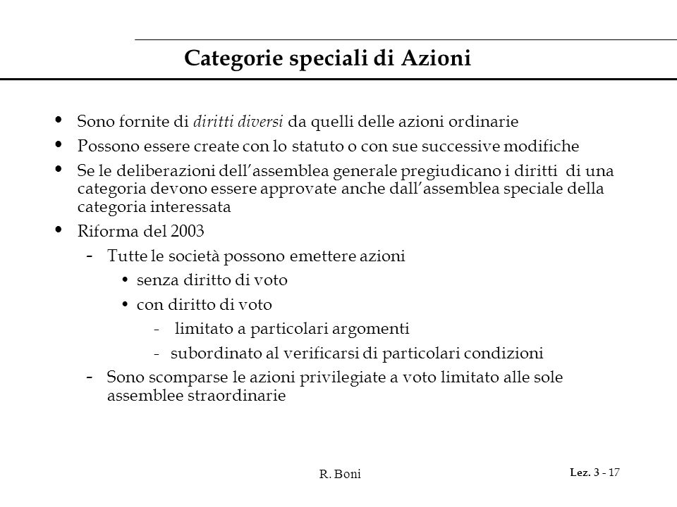 Categorie speciali di Azioni