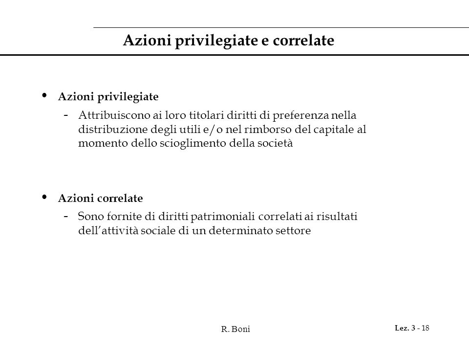 Azioni privilegiate e correlate