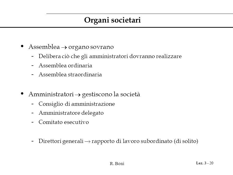 Organi societari Assemblea  organo sovrano