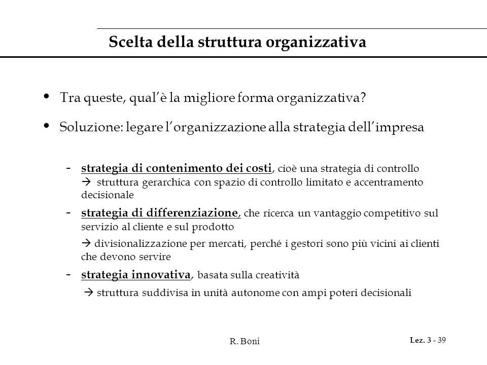 Scelta della struttura organizzativa