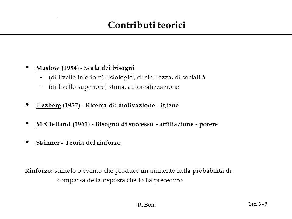 Contributi teorici Maslow (1954) - Scala dei bisogni