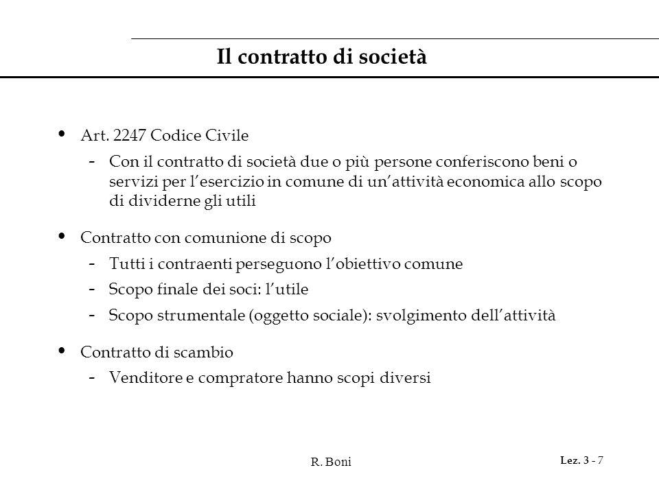 Il contratto di società
