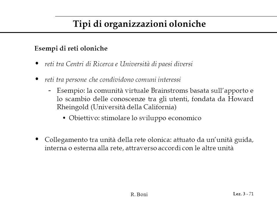 Tipi di organizzazioni oloniche